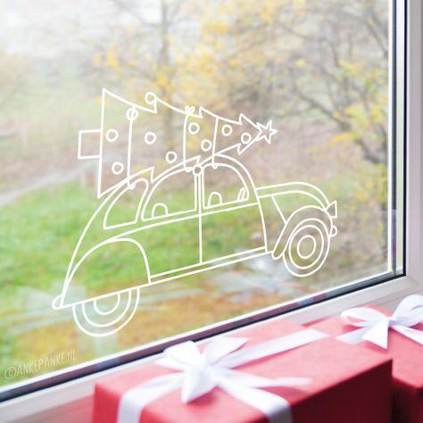 Leuke Kerstmis Raamtekening Met Een Versierde Kerstboom Op Een Eend Fensterbilder Weihnachten Fensterdeko Weihnachten Christbaumschmuck