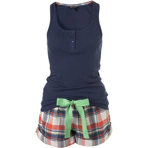 Checked Vest And Shorts ($40) ❤ liked on Polyvore