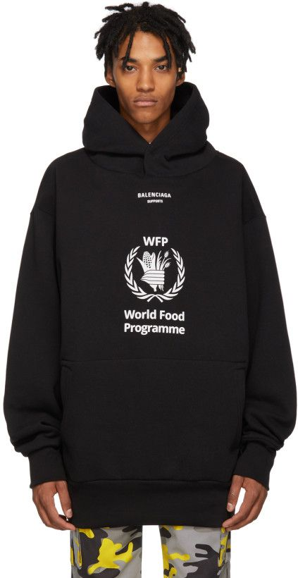 Balenciaga Black World Food Programme Hoodie Hoodies Mens Sweatshirts Hoodie Sweatshirts Menswear
