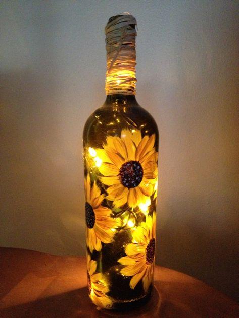 bottle crafts with lights Wine Bottle Gifts/Favors Liquor Bottle Crafts, Wine Bottle Gift, Alcohol Bottles, Diy Bottle, Bottle Art, Crafts With Wine Bottles, Decorating Wine Bottles, Beer Bottle, Liquor Bottles