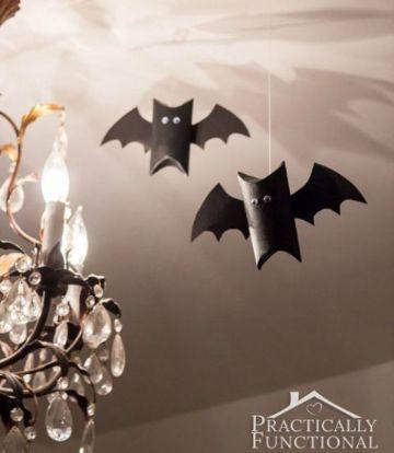 4 Divertidos Murcielagos Con Rollos De Papel Higienico Rollos De Papel Higiénico Decoración De Halloween Murcielagos De Papel