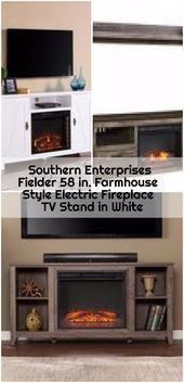 Southern Enterprises Fielder 58 inches. Electric fireplace in country style, TV stand in white, ...., #Country #electric #Enterprises #Fielder #fireplace #inches #Interjiersfireplace #Livingroomfireplace #Southern #Stand #Style #WHITE