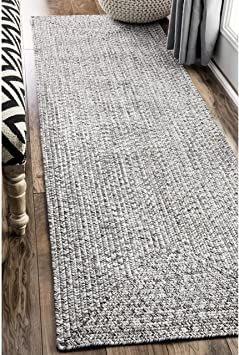 Nuloom Lefebvre Braided Indoor Outdoor Runner Rug 2 6 Quot X 12 Light Grey In 2020 Outdoor Runner Rug Rugs On Carpet Braided Rug Diy
