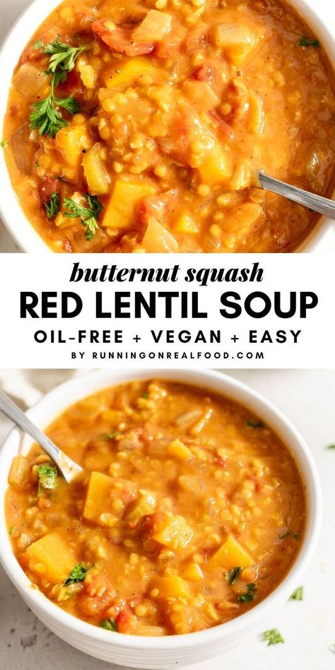 soup recipes This hearty vegan butternut squash red lentil soup recipe is easy to make with simple ingredients in under 40 minutes. The recipe is gluten-free, oil-free, sugar-free and low in fat. Enjoy for a healthy, whole food plant-based meal. Lentil Soup Recipes, Red Lentil Soup, Vegetarian Lentil Soup, Vegetarian Recipes Red Lentils, Soup With Lentils, Pumpkin Soup Recipes, Red Lentil Recipes Easy, Lentil Meals, Vegetarian Recipes