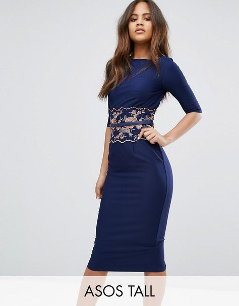 a96569b62399c Little Mistress Tall Pencil Midi Dress With Embroidered Detail