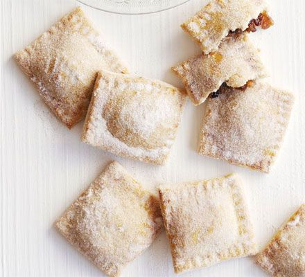 Sugar-dusted mince pie parcels. Want freshly baked, homemade mince pies without the hassle of lining tins? Try our easiest-ever version.