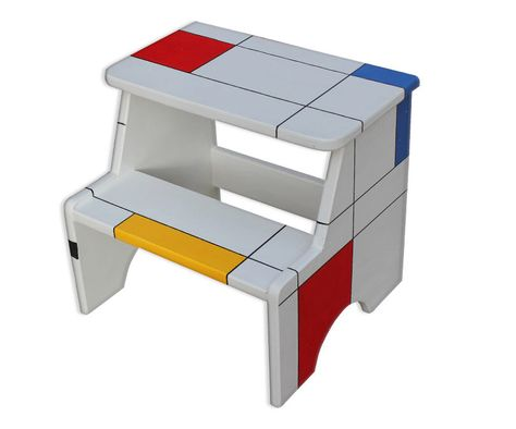 Fantastic Mondrian Painted Step Stool Step Stool Chair Step Stool Theyellowbook Wood Chair Design Ideas Theyellowbookinfo