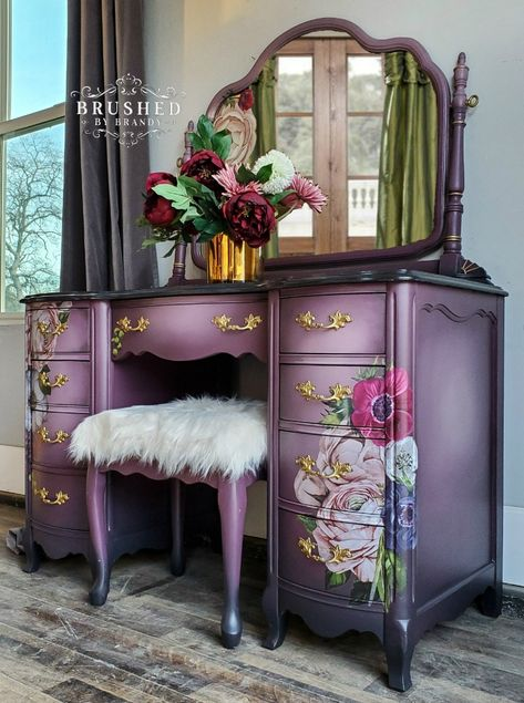 Beautiful Blended Purple and Floral Vanity! Learn How to Paint Furniture with Brushed by Brandy Beautiful Blended Purple and Floral Vanity! Learn How to Paint Furniture with Brushed by Brandy Brushed by Brandy Gray Painted Furniture, Whimsical Painted Furniture, Diy Furniture Redo, Decoupage Furniture, Funky Furniture, Upcycled Furniture, Shabby Chic Furniture, Furniture Projects, Vintage Furniture