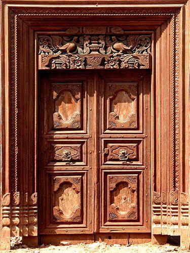 Teak Wood Traditional South Indian Main Door Designs