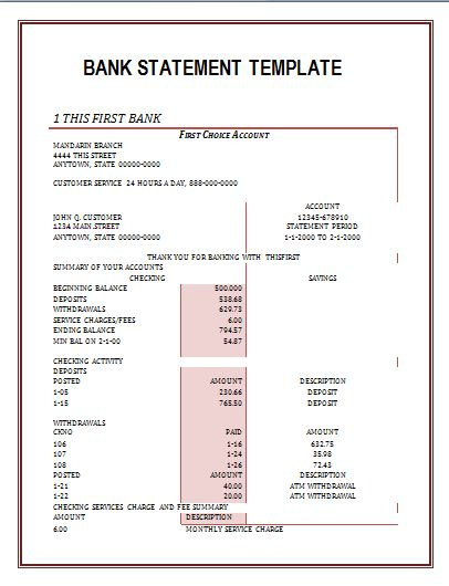 bank statement template wordstemplates Pinterest Statement - medical certificate for sick leave