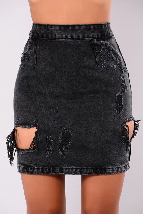 - Available in Black - Mini Denim Skirt - Non-Stretch Distressed - Zipper Back