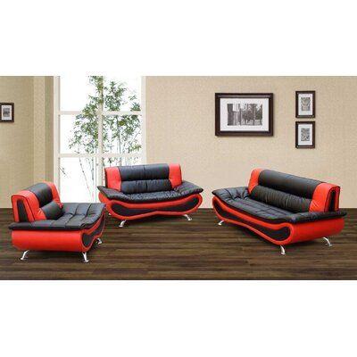 Ivy Bronx Henegar Kjetil 3 Piece Standard Living Room Set Upholstery Colour Black Red Modern Sofa Set Living Room Sets Furniture Sofa Set