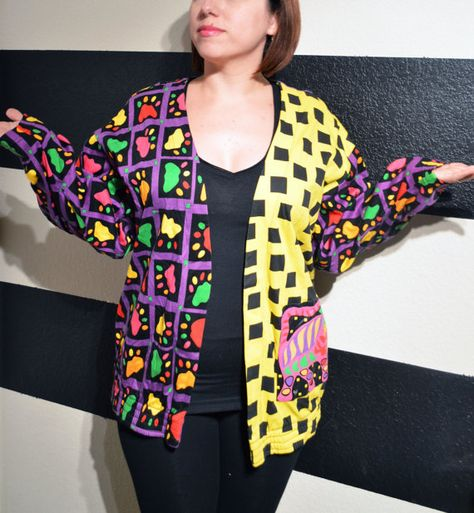 Vintage Cat Cardigan Colorful with Paw Prints Susan Costello