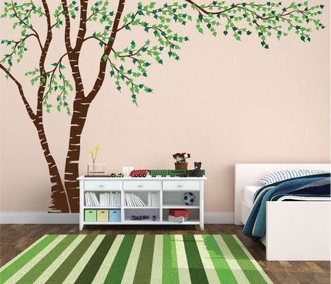 Birch Tree Forest Canopy Blowing Leaves Vinyl Wall Decal 1376