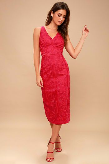 Hot Red Party Dresses For Women Look Fiery And Fab In A Little Red Dress Sizzling Styles At Embroidered Midi Dress Red Embroidered Dress Fitted Midi Dress