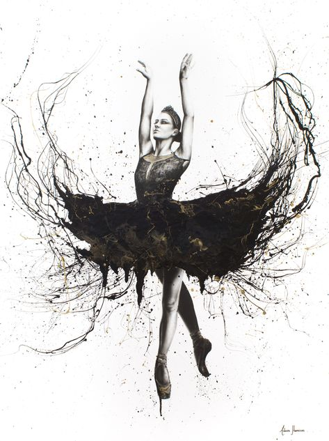 """A black swan painting I created with resin, charcoal and acrylics on gallery canvas 48"""" (122cm) high. Sold to a collector in Norway. Prints available. #blackswan #realism #expressionism #ballerina #ballet #dance #photorealism #art"""