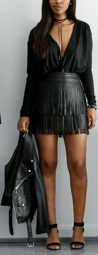 Fringed -  Necklace and top @bikbok  , skirt @mango ,  jacket @zara , heels @nelly.com -   Fashion Look by  femmeblk