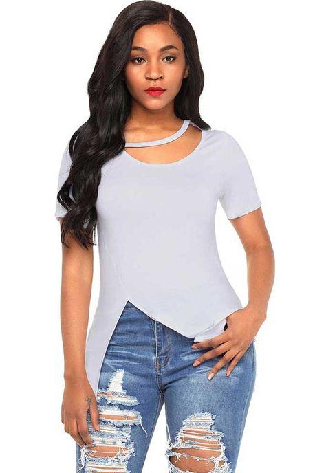 839e77c737c1fd Women s  white short sleeve  blouse with asymmetric side splits