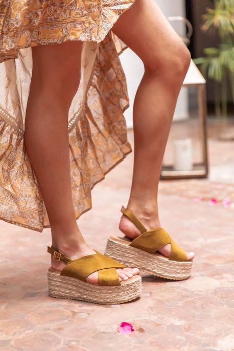 Sandales moutarde croisées compensées Semelle plateforme