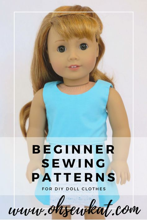Learn to sew doll clothes with easy sewing patterns by oh sew kat! American Girl doll clothes patterns plus free skirt pattern at . American Girl Outfits, Ropa American Girl, American Doll Clothes, Doll Dress Patterns, Baby Clothes Patterns, Doll Sewing Patterns, Sewing Tutorials, Pattern Sewing, Free Pattern
