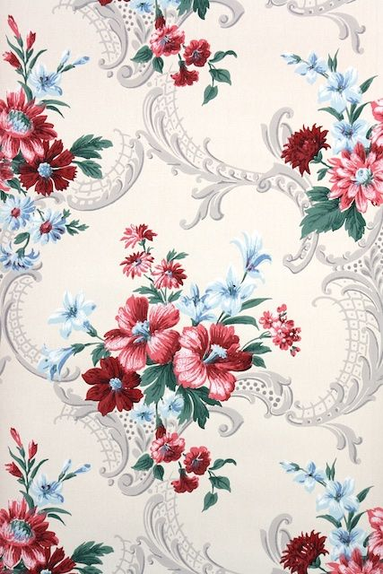 1930s Floral Vintage Wallpaper Pink Roses and Tiny Blue Flowers on White