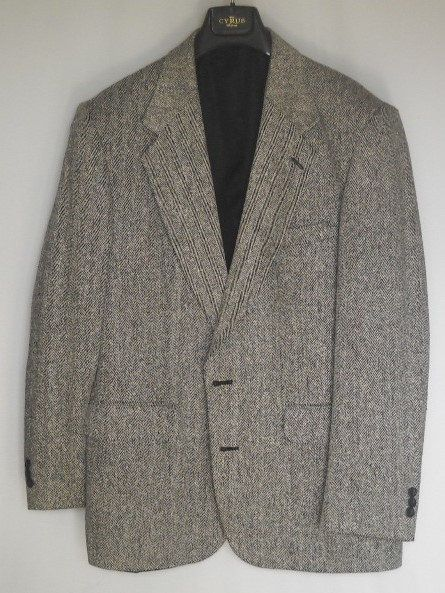 42L long evan Picone wool brown pattern squares classic 2 button tan suede elbow patch sport coat