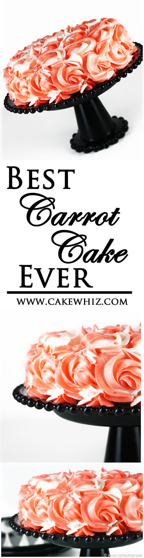The BEST CARROT CAKE ever! Everyone always asks for my recipe. And I also did a tutorial on these easy BUTTERCREAM ROSES so that your cake looks pretty too :) From cakewhiz.com