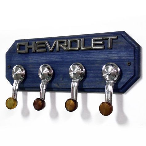 car part furniture Chevrolet Coat Rack Chevy Hat Rack with 4 Chrome by StarlingInk, can do this with my spare parts! Car Part Furniture, Automotive Furniture, Furniture Plans, Kids Furniture, Man Cave Automotive, Man Cave Furniture, Automotive Art, Wall Hat Racks, Diy Hat Rack