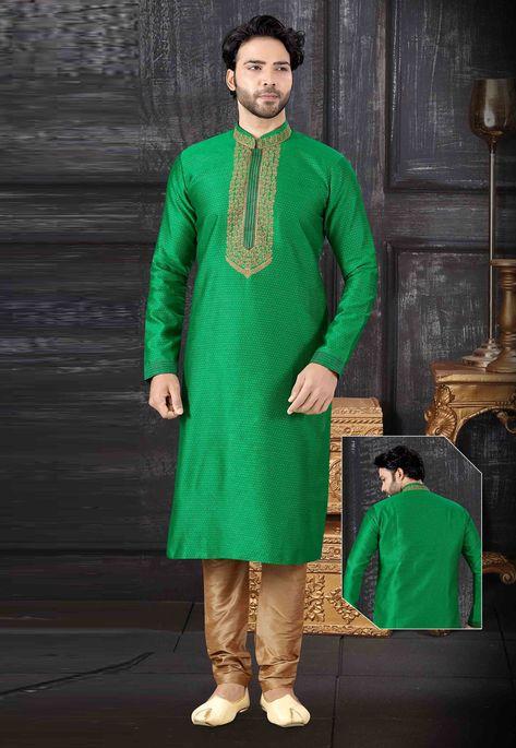 Green Jacquard Readymade Kurta Pajama 199155 in 2020