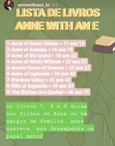 Livros Da Sequencia De Anne Of Green Gables Em 2020 Com Imagens