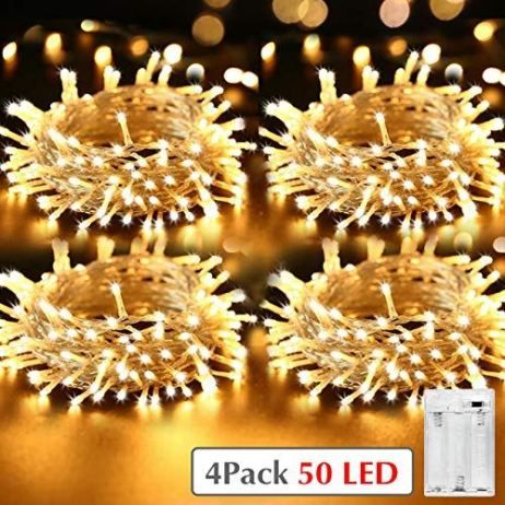 Lot De 4 Kolpop Guirlande Lumineuse Pile 5m 50 Leds Mini Guirlande Led A Pile Interieur Et Exterieur Decoration Guirlande Led Guirlande Lumineuse Led A Pile