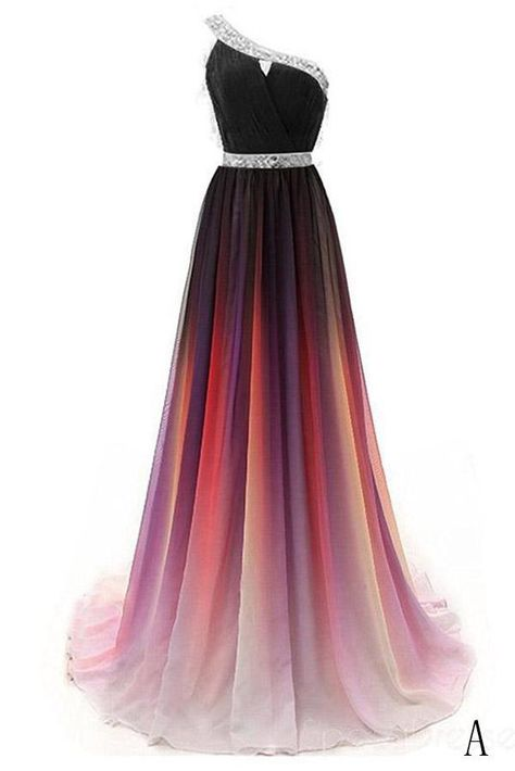 fc6ede42398 Cheap One Shoulder Ombre Beaded Long Evening Prom Dresses OKK38 – Okdresses