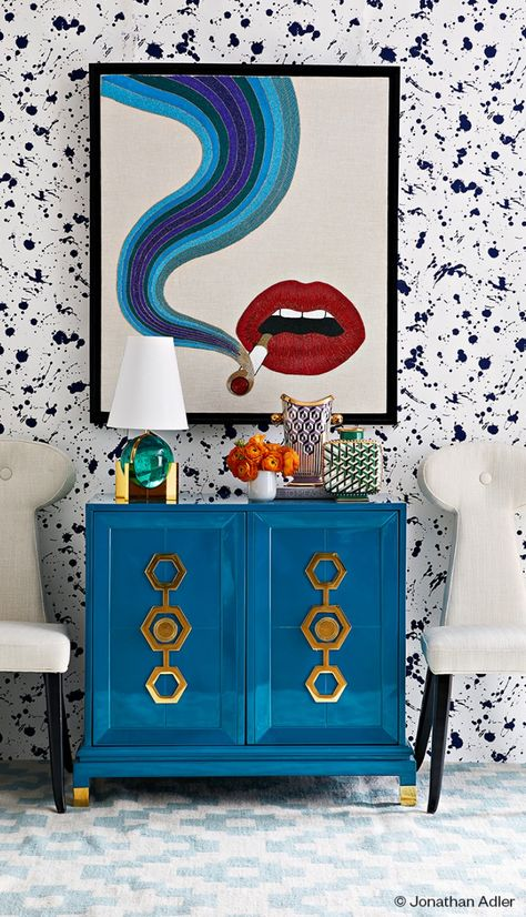 22 Of The Best Places To Buy Wallpaper Online---Jonathan Adler Room Inspiration, Interior Inspiration, Buy Wallpaper Online, Eclectic Decor, Bright Decor, Eclectic Furniture, Funky Home Decor, Blue Home Decor, Eclectic Design