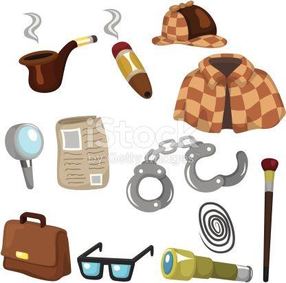12 Cute Cartoon Detective Tool Icon Set Detective Conjunto De Iconos Fiesta De Detective