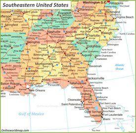 خريطة جنوب شرق الولايات المتحدة Southeastern Usa Map Map