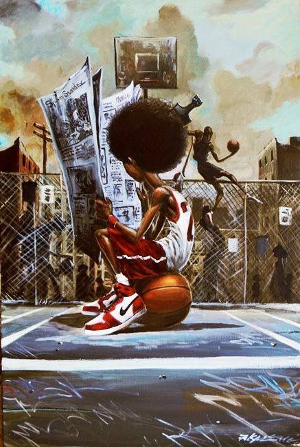 Sport Page by Frank Morrison CodeBlack Art Black Love Art, Black Girl Art, Black Is Beautiful, Art Girl, Arte Do Hip Hop, Hip Hop Art, African American Art, African Art, Frank Morrison Art
