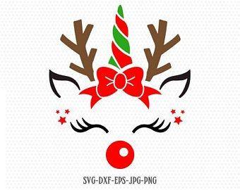 Cute Reindeer Svg Reindeer Svg Boy And Girl Reindeer Etsy Christmas Unicorn Christmas Svg Unicorn Svg