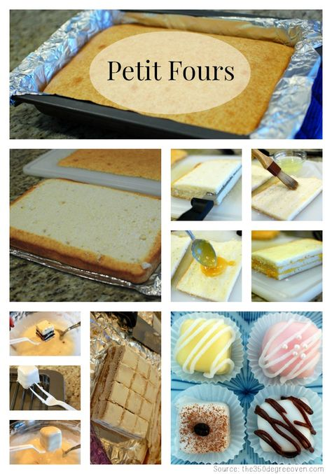 """KatieSheaDesign ♡❤ ❥▶ Petit Fours are small bite-sized confections, served as a dessert or as a sweet treat with tea or coffee. The name """"petit four"""" is French, which translates to """"small oven"""". This recipe shows several variations to create! French Desserts, Mini Desserts, Just Desserts, Bite Sized Desserts, Tea Party Desserts, Spanish Desserts, Small Desserts, Spanish Tapas, Easter Desserts"""