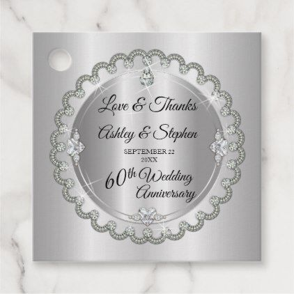 Elegant Gold Diamonds 60th Wedding Anniversary Favor Tags Zazzle Com Anniversary Favors Wedding Anniversary Favors 60 Wedding Anniversary