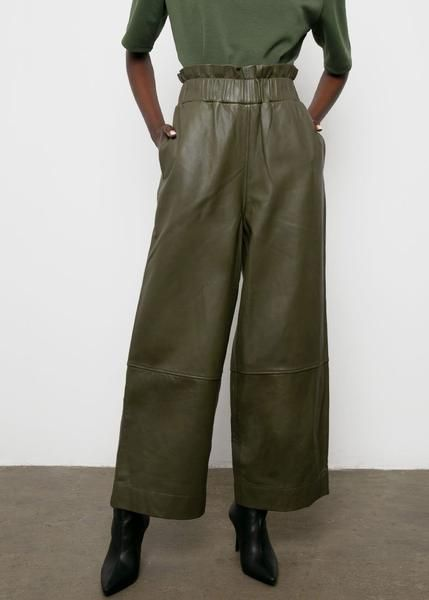 Ganni Wide Leg Leather Pants In Kalamata In 2020 Leather Pants Outfit Inspo Fall Fashion