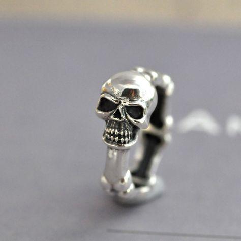 Fashoin Handmade 925 Sterling Silver Punk Skull Ring Women Men Rings For Gifts Free Shipping