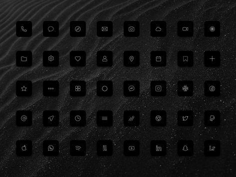 iOS 14 Dark icon set