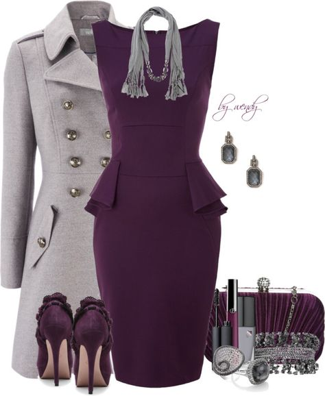 """Purple & Grey and Peplum contest"" - I NEED this outfit! Mode Outfits, Fashion Outfits, Womens Fashion, Fashion Trends, Fashion Design, Fashion Ideas, Jw Mode, Church Outfits, Business Outfits"