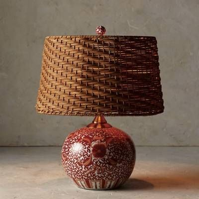 Coral Ming Low Pot Table Lamp With Wicker Shade Frontgate Lamp Handcrafted Lamp Table Lamp