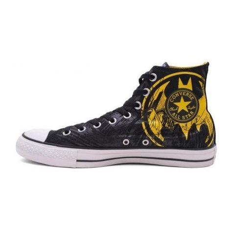 555da057dc7d Converse Shoes Black DC Comics Batman Caped Crusader Yellow Logo... ( 47) ❤  liked on Polyvore featuring men s fashion