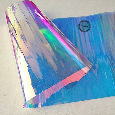 Transparent Clear Holographic Iridescent Pvc Fabric Mirror Film Vinyl Bag Craft Ebay Pvc Fabric Mirrors Film Patchwork Diy