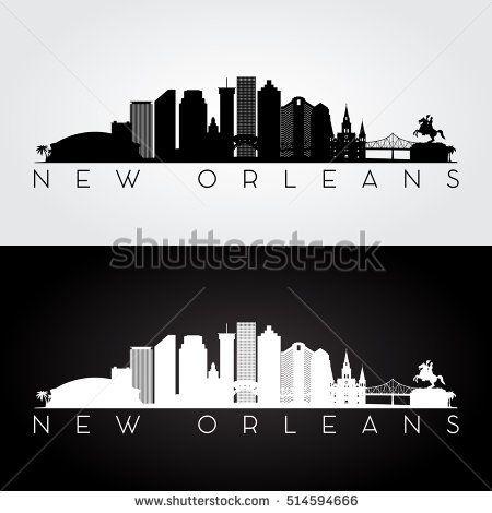 New Orleans Usa Skyline And Landmarks Silhouette Black And White Design Vector Illustration New Orleans Skyline New Orleans Tattoo Skyline Image