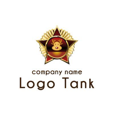 7 900円でロゴ販売 ロゴタンク トナカイと星のバッジ風ロゴマーク ロゴマーク シンボルマーク ロゴ