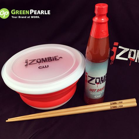 """Another fun project completed for The CW Network. """"Brain-Eating"""" accessories (aka promotional items) for upcoming iZOMBIE TV Series. #customchopsticks #customhotsauce #iZOMBIE #CW #theCW #promotionalitem #swag #promos"""