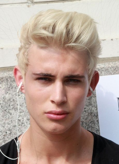 Blond Hipster With Brushed Back Hair Mens Haircut And Hairstyles